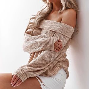Free people edessa off the shoulder pullover knit